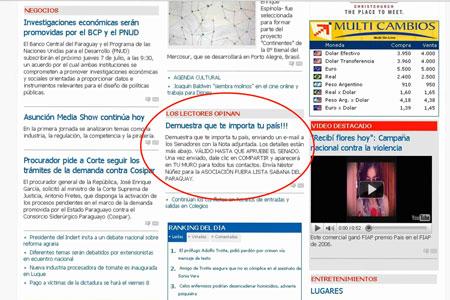 Publicación del 06/07/2011 del Diario La Nación