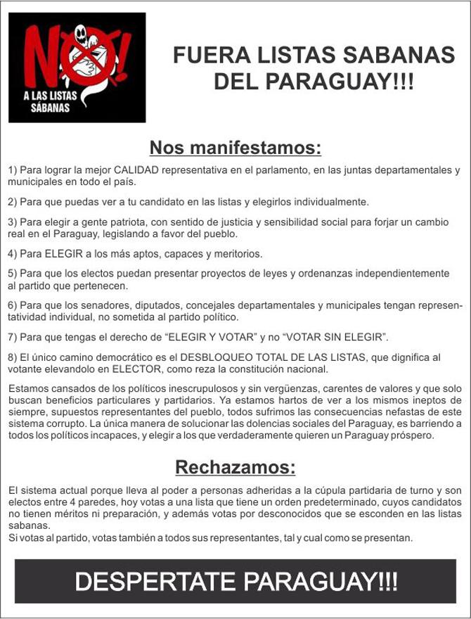 ASOCIACIÓN FUERA LISTAS SÁBANAS DEL PARAGUAY